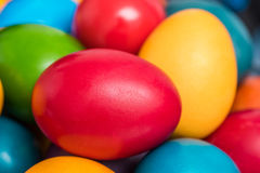Colorful Easter Eggs In Basket Stock Photography