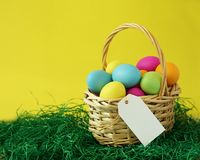 Colorful Easter Eggs Basket With Copyspace stock photo