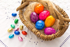 Colorful Easter eggs basket embroidery Royalty Free Stock Photos