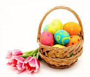 Colorful easter eggs in basket. And flowers isolated on a white background Stock Images