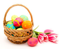 Colorful easter eggs in basket and flowers Royalty Free Stock Photo