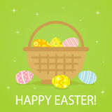 Colorful Easter eggs in basket. On green background, illustration Royalty Free Stock Images