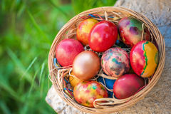Colorful Easter eggs in a basket on a green grass background. Colorful Easter eggs in a basket and green grass background Stock Photography