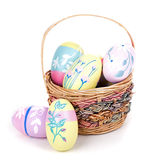 Colorful Easter Eggs and Basket Royalty Free Stock Image