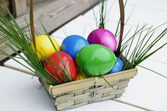 Colorful Easter eggs in basket theme. Colorful Easter eggs in a basket with fresh grass Royalty Free Stock Photo