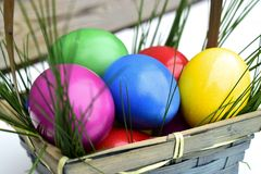 Colorful Easter eggs in basket theme. Colorful Easter eggs in a basket with fresh grass Royalty Free Stock Photography