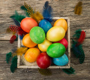 Colorful easter eggs in basket. Top view Stock Photos