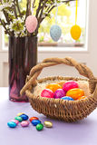 Colorful Easter Eggs basket vase Royalty Free Stock Image