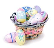 Colorful Easter Eggs and Basket Royalty Free Stock Photography