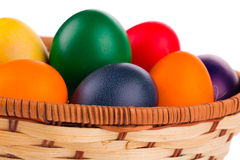 Colorful Easter eggs in basket. Stock Photography