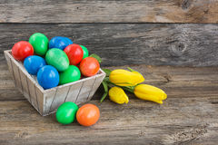 Colorful Easter eggs in basket and yellow tulips Royalty Free Stock Image