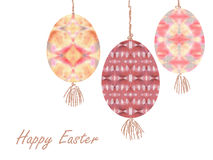 Colorful easter eggs with beautiful color abstract pattern. Isolated on white background - graphic illustration. Royalty Free Stock Photography