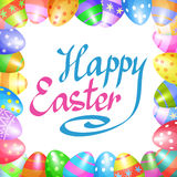 Colorful Easter eggs border for Easter holidays design. Vector Stock Image