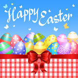 Colorful Easter eggs border with red bow for Easter holidays Stock Images
