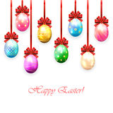 Colorful Easter eggs with bow Royalty Free Stock Photography
