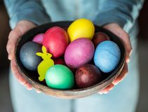 Colorful Easter eggs in bowl in woman`s hands royalty free stock photos