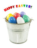 Colorful Easter eggs in a bucket Royalty Free Stock Photos