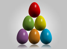 Easter eggs. Colorful Easter eggs build in Triangle shape, isolated on white Stock Photography