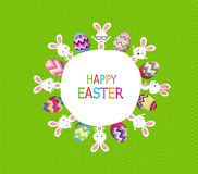 Colorful Easter eggs and bunny around the globe Royalty Free Stock Image