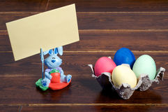 Colorful easter eggs and bunny with greeting card Stock Photo