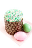 Colorful Easter eggs and cake on white  background, spring holid Royalty Free Stock Image