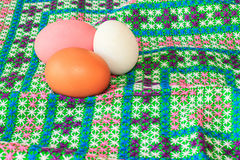 Colorful easter eggs on canvas Royalty Free Stock Image