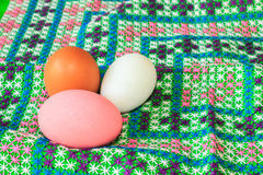 Colorful easter eggs on canvas Royalty Free Stock Photo