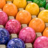 Colorful easter eggs. Cardboard box with colored easter eggs Royalty Free Stock Image