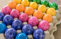Colorful easter eggs. Cardboard box with colored easter eggs Stock Image