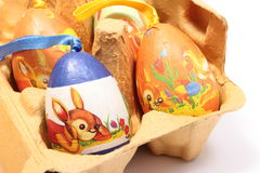 Colorful Easter eggs in carton package Stock Images