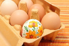 Colorful Easter eggs in carton package Stock Image