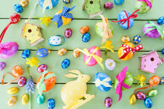Colorful easter eggs. With cheerful gift ribbons Royalty Free Stock Photos