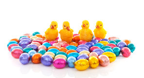 Colorful easter eggs and chickens Stock Photo