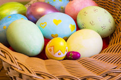 Colorful Easter eggs, close, different size Royalty Free Stock Photo