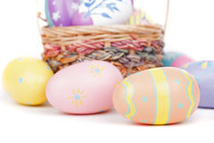 Colorful Easter Eggs Closeup Stock Photography