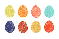 Colorful easter eggs collection in doodle style. Hand drawn. Vector illustration vector illustration