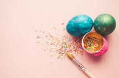 Colorful easter eggs with confectionery sprinkling Royalty Free Stock Photo