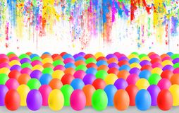 Colorful Easter eggs with copyspace stock illustration