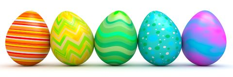 Colorful Easter eggs - 3d render. Row of Colorful Easter eggs - 3d render Stock Photos