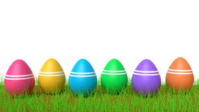 Colorful Easter eggs 3d rendering. Colorful Easter eggs in green grass  in a white background having copy space 3d rendering Stock Photos
