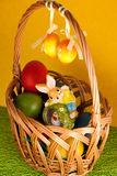 Colorful easter eggs decorated on color background Royalty Free Stock Photography