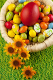 Colorful easter eggs decorated on color background Royalty Free Stock Image
