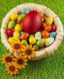 Colorful easter eggs decorated on color background Royalty Free Stock Photos