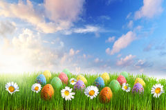 Colorful Easter eggs decorated with flowers Stock Photography