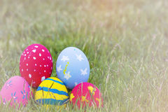 Colorful Easter eggs decorated with flowers in the grass. On a yellow background Stock Images