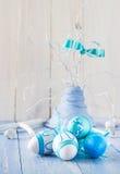 Colorful Easter eggs decorative arrangement Stock Photo