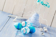 Colorful Easter eggs decorative arrangement Royalty Free Stock Image