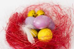 Colorful  Easter eggs in decorative red nest  on white tablecloth Stock Photo