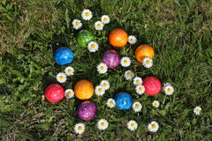 Colorful Easter eggs in easter basket. The Colorful Easter eggs in easter basket Royalty Free Stock Photo