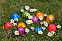 Colorful Easter eggs in easter basket. The Colorful Easter eggs in easter basket Stock Photography